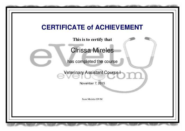 vet assisant certificate