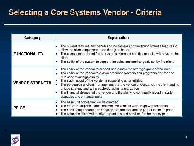 software vendor selection criteria template - vendor selection process