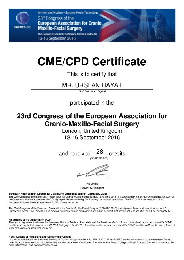 Cme Cpd Certificate Eacmfs 2016