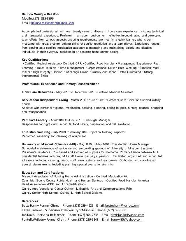 Belinda.M.Beaston Resume
