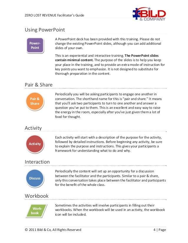 facilitation plan template - bild facilitator guide sample