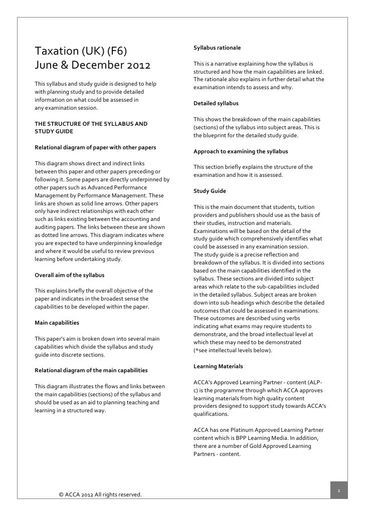 SyllabusrationaleTaxation(UK)(F6)                         ...