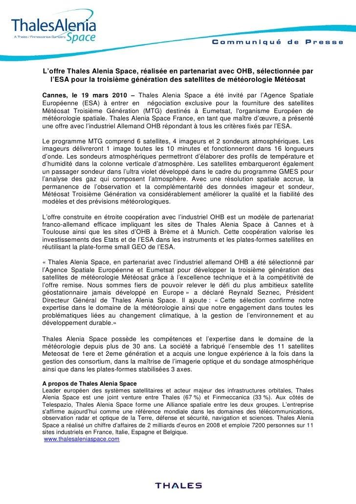 L'offre Thales Alenia Space, réalisée en partenariat avec OHB, sélectionnée par   l'ESA pour la troisième génération des s...