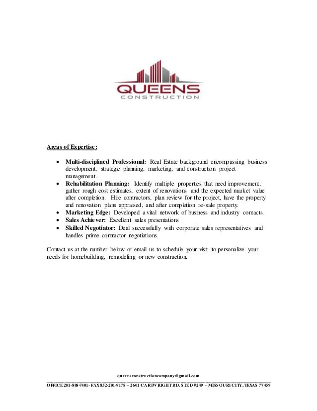 Queens Construction Company Of EXPERTISE LETTER