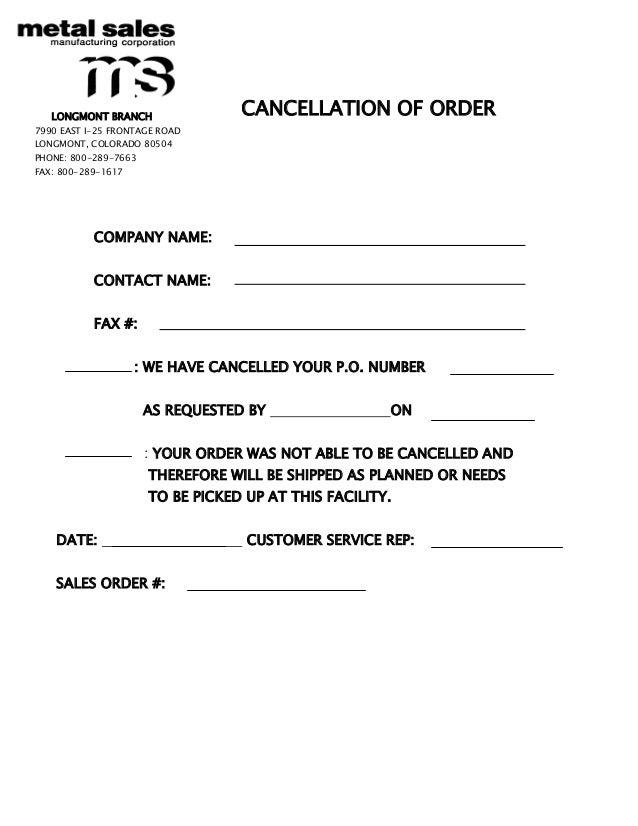 cancellation form