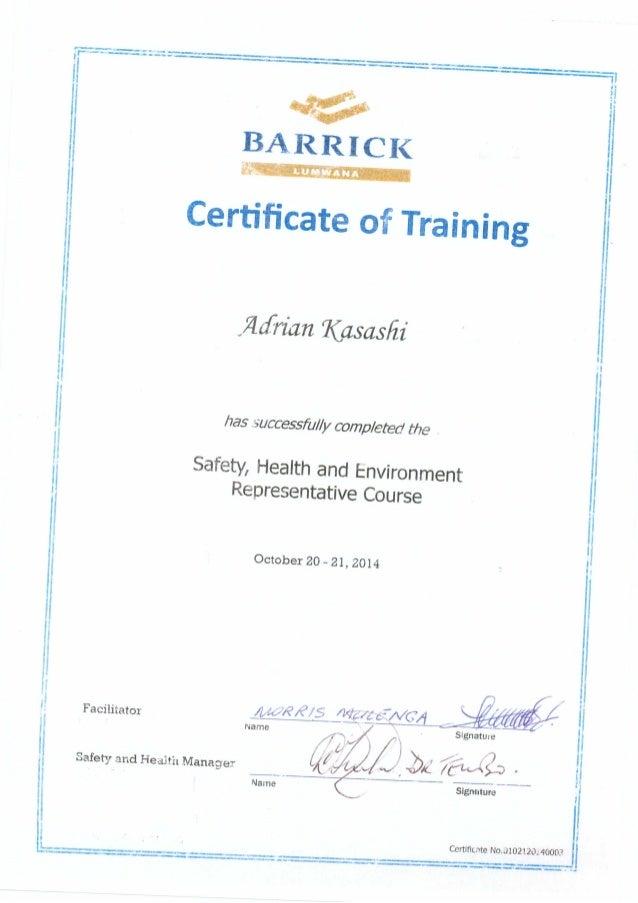 CERTIFICATES FOR SAFETY Slide 2