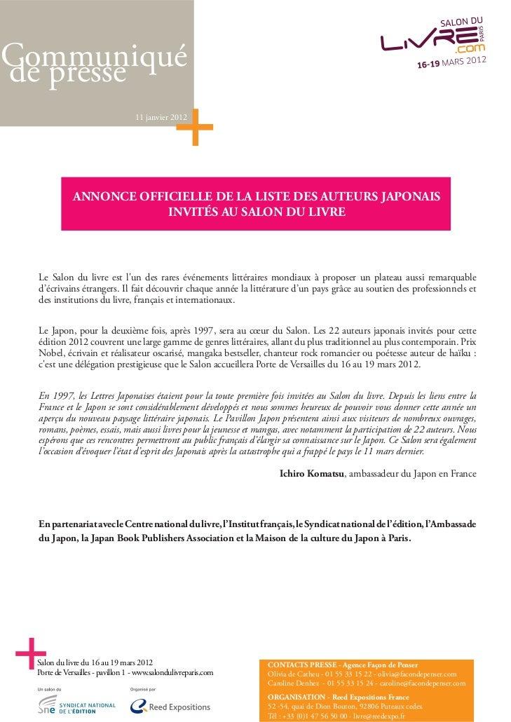 Communiquéde presse                                  11 janvier 2012             ANNONCE OFFICIELLE DE LA LISTE DES AUTEUR...