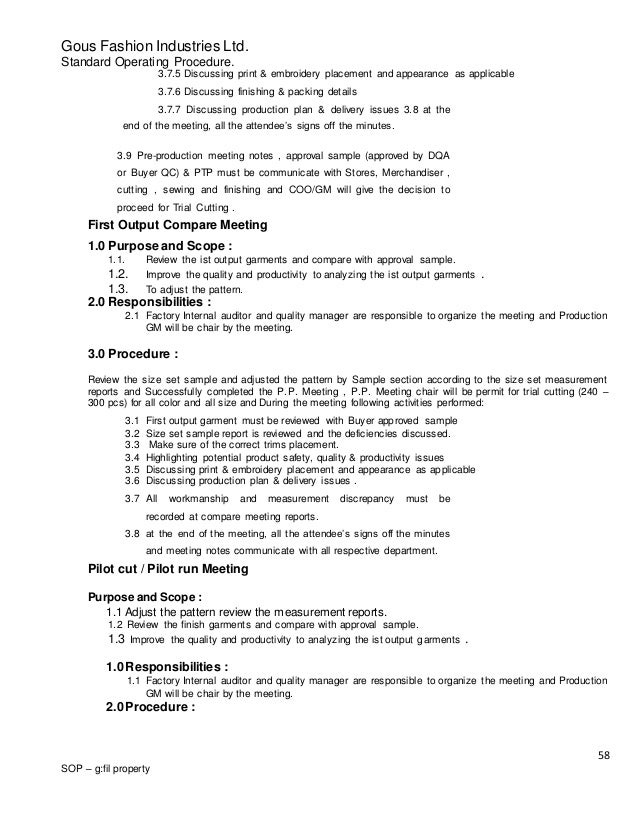 purpose of standard operating procedures manual