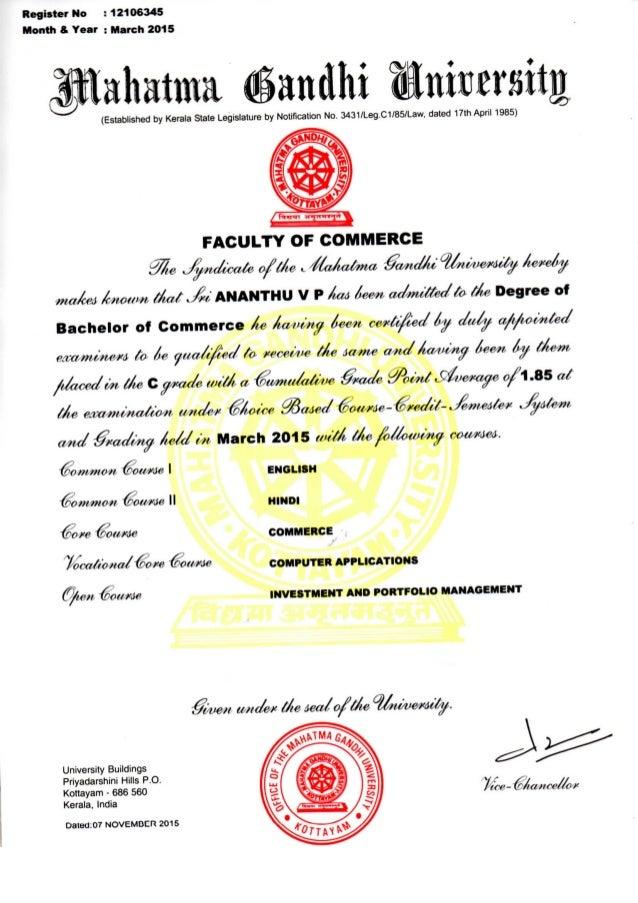 MG University Bachelor's Certificate