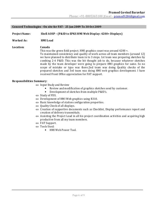 pramod baravkar resume