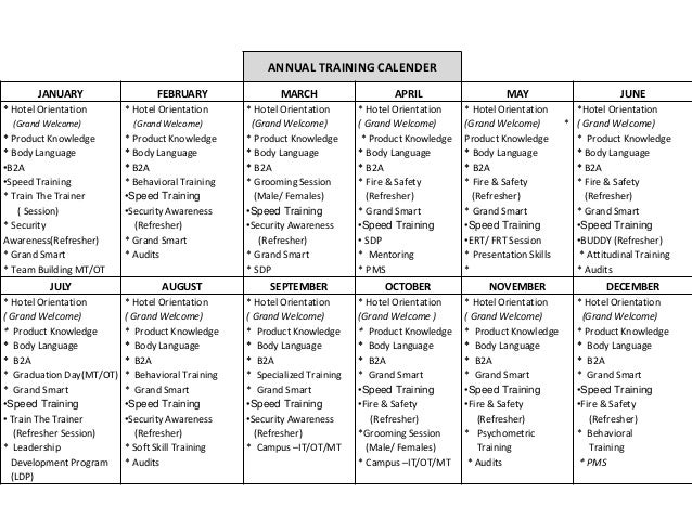 Training Calendar formatfor trainer