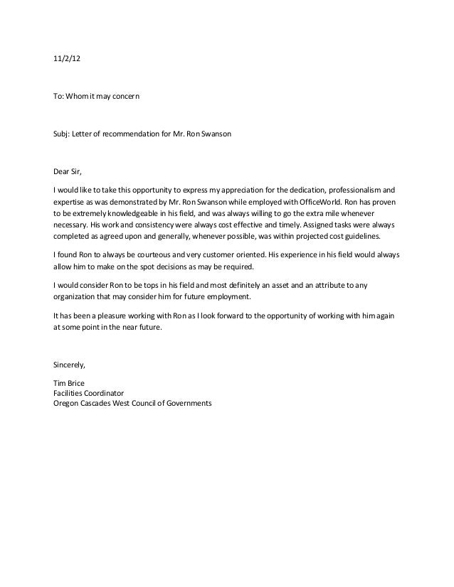 Ore Cascades West Council Of Govt Reference Letter