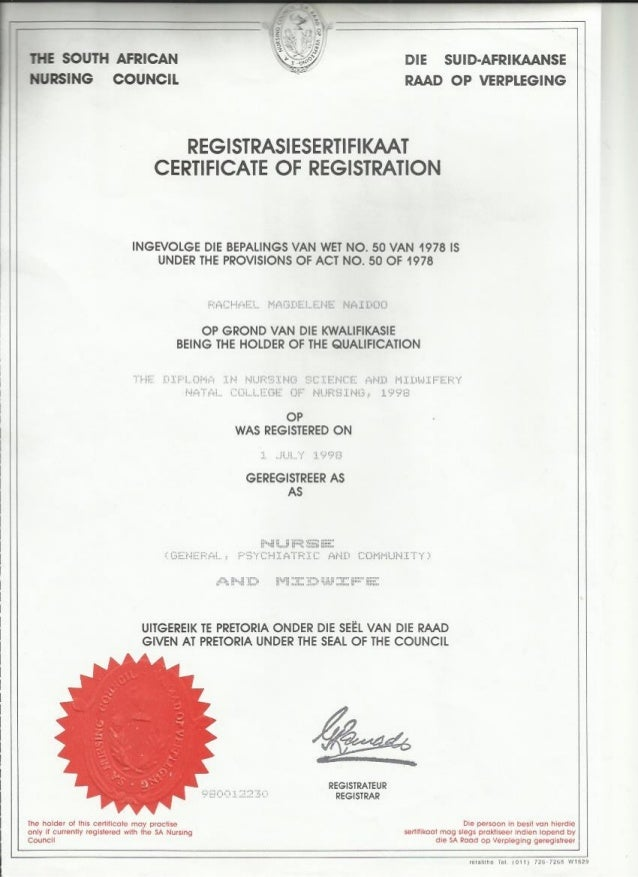 Certificate Of Registration Nursing Council