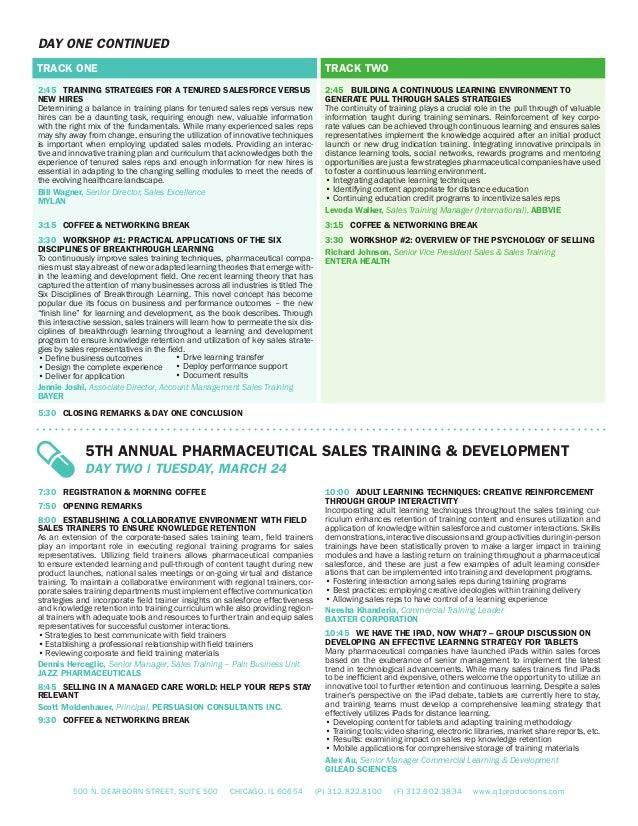 Agenda- 5th Annual Pharma Sales Training & Development