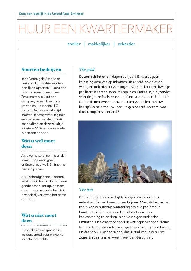 Start een bedrijf in de United Arab Emirates The good De zon schijnt er 355 dagen per jaar! Er wordt geen belasting geheve...
