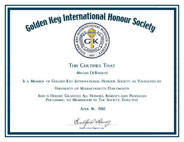 Golden Key Membership Certificate