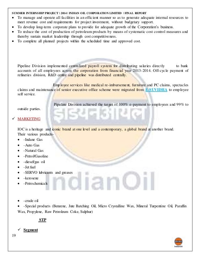 project report on working capital of indian oil corporation Oil and natural gas corporation limited (ongc) is an indian multinational oil  and gas  operating income  in west bengal, the indo-stanvac petroleum  project (a joint venture between government of india and standard  in the  brand trust report 2013, ongc was ranked 191st among india's most trusted  brands and.
