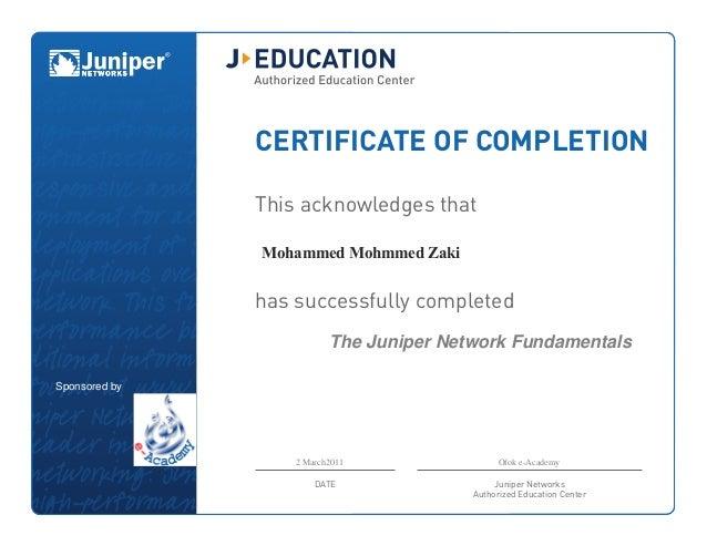 juniper certificate mohammed zaki
