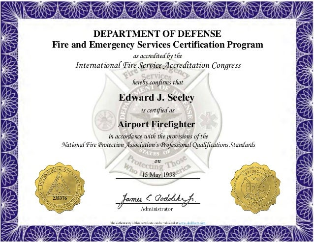 firefighter certificate