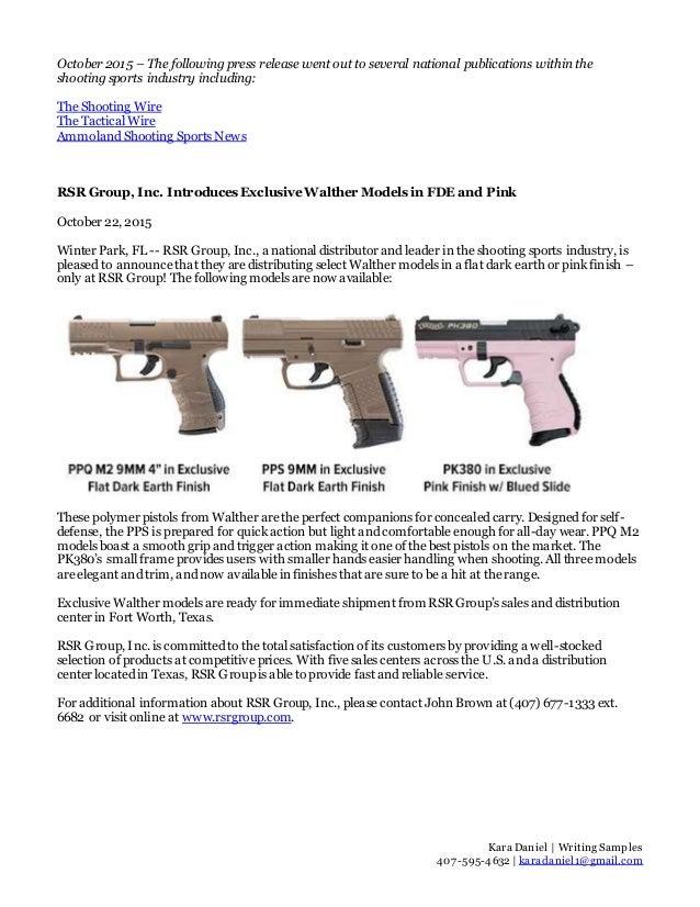 Kara Daniel | Writing Samples 407-595-4632 | karadaniel1@gmail.com October 2015 – The following press release went out to ...