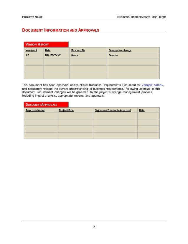 Business requirements document template business requirements document 2 cheaphphosting