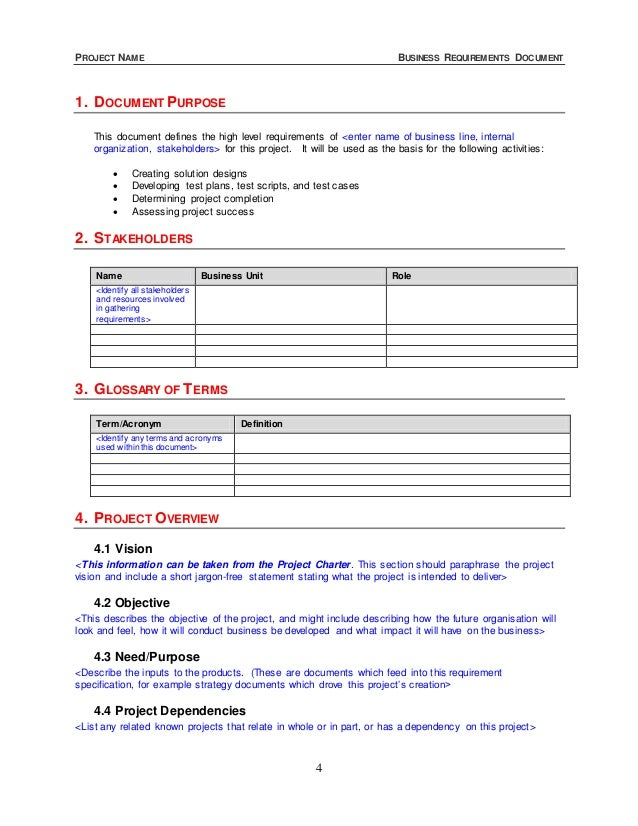 Business requirement documents business requirements for Business requirement specification document template