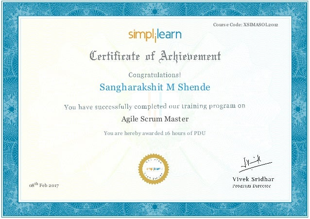 Agile Scrum Master Certificate Pdu Simplilearn