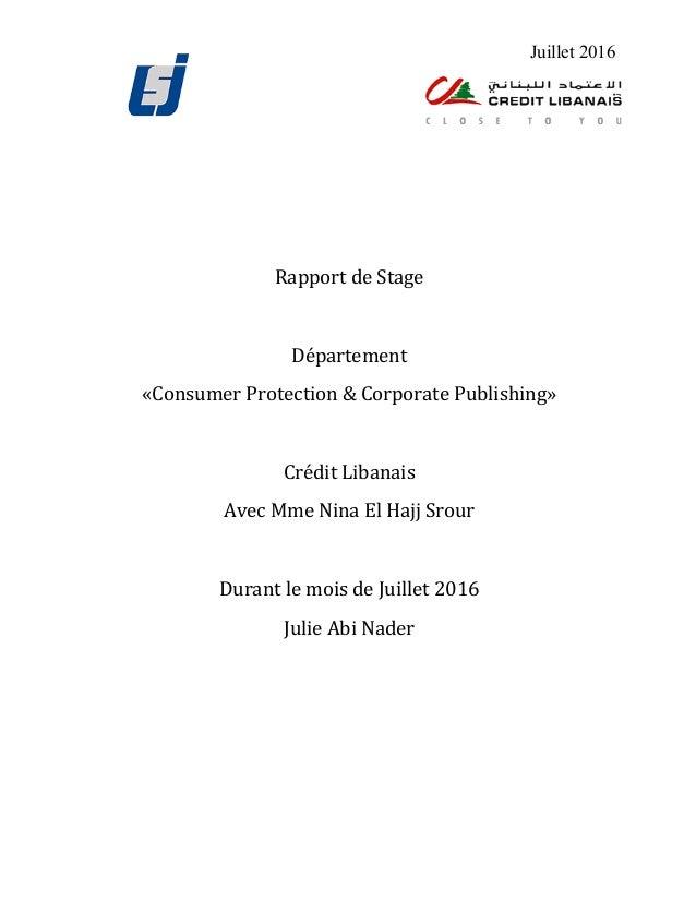 Juillet 2016      RapportdeStage  Département «ConsumerProtection&CorporatePublis...