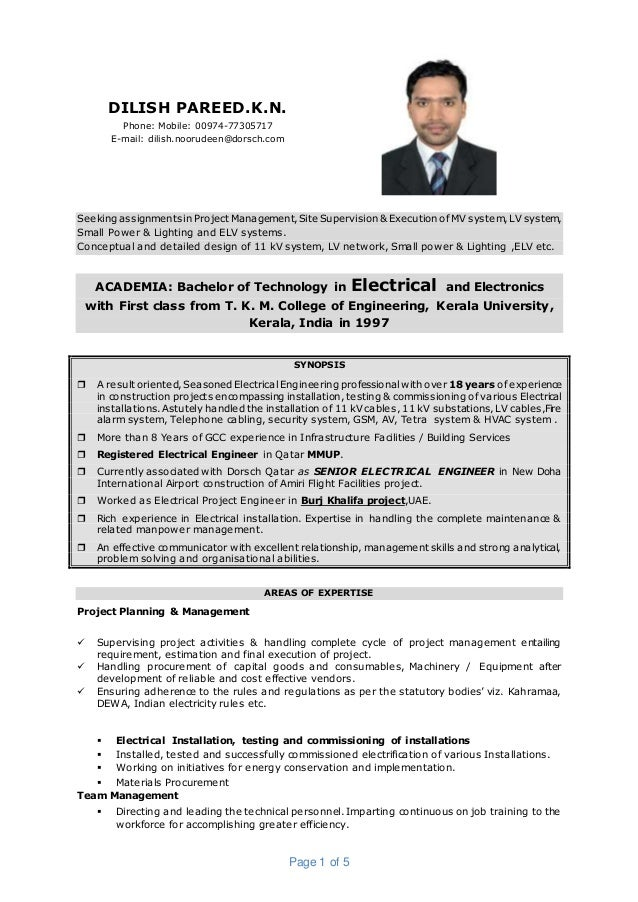 Dilish Pareed CV-Senior Electrical Engineer-construction,consult…
