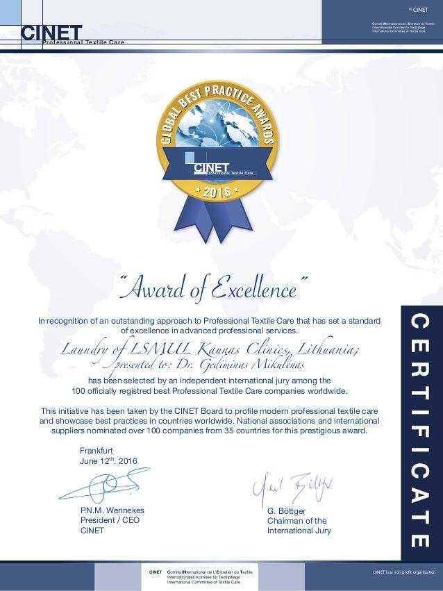 dr gediminas mikulenas global best practices awards certificate