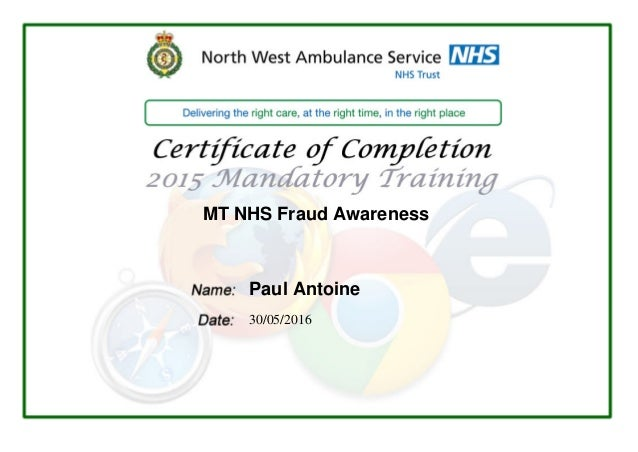 MT NHS Fraud Awareness Paul Antoine 30/05/2016