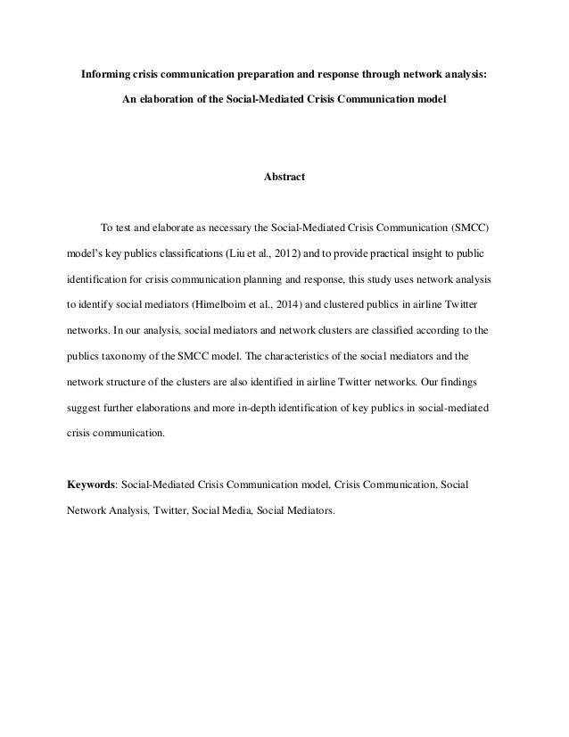 Informing crisis communication preparation and response through network analysis: An elaboration of the Social-Mediated Cr...