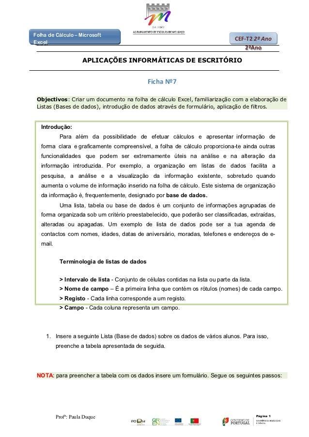 Folha de Cálculo – MicrosoftFolha de Cálculo – Microsoft                                                                  ...