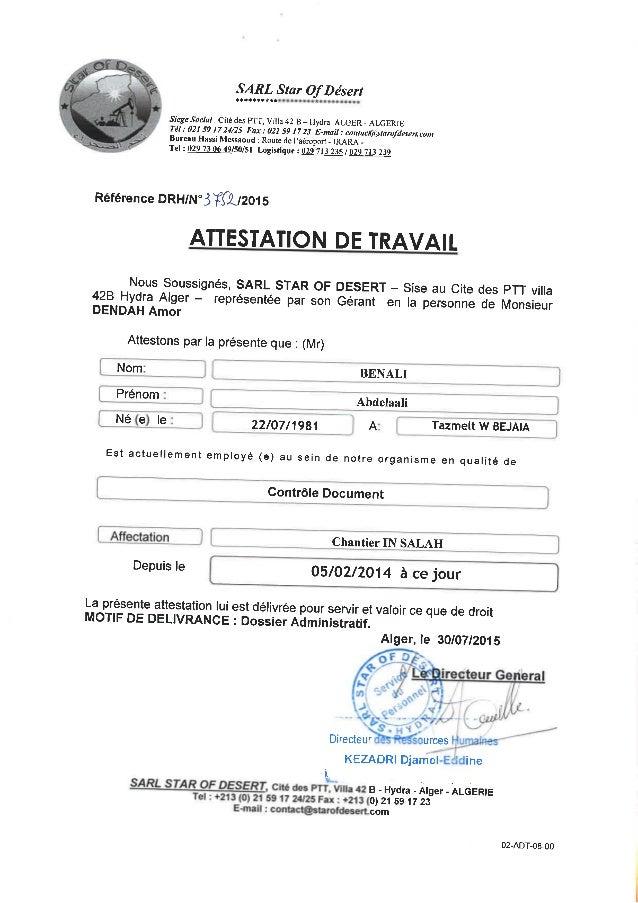 ATTESTATION DE TRAVAIL