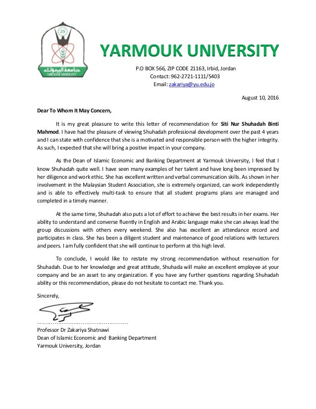 recommendation letter 1 yarmouk university po box 566 zip code 21163 irbid jordan contact 962