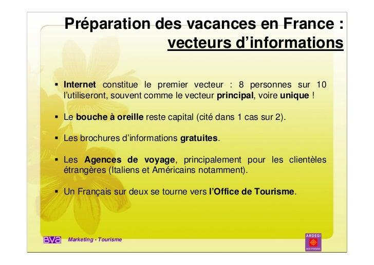 Préparation des vacances en France :             vecteurs d'informationsInternet constitue le premier vecteur : 8 personne...