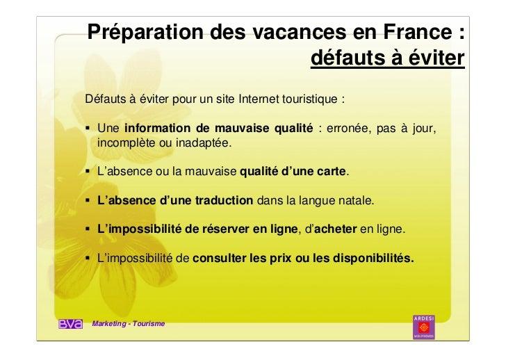 Préparation des vacances en France :                     défauts à éviterDéfauts à éviter pour un site Internet touristiqu...