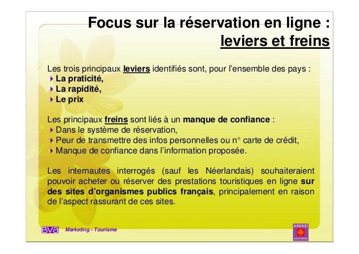 Focus sur la réservation en ligne :                              leviers et freinsLes trois principaux leviers identifiés ...