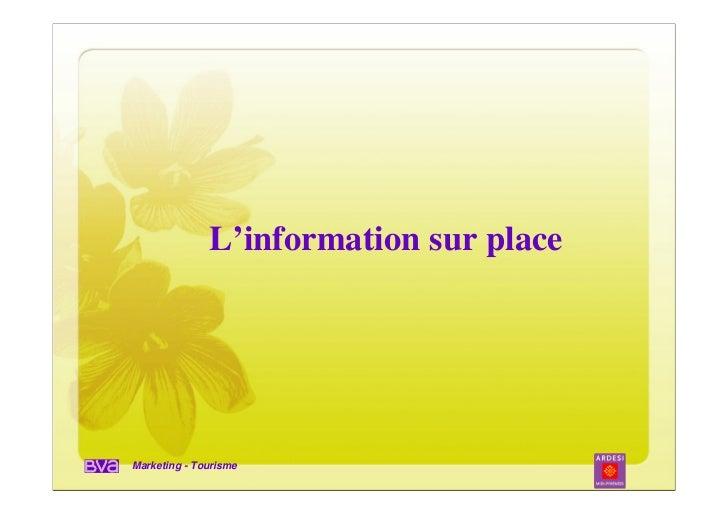 L'information sur placeMarketing - Tourisme