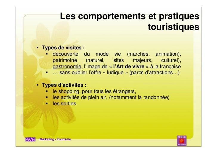 Les comportements et pratiques                               touristiques Types de visites :     découverte du mode vie (m...