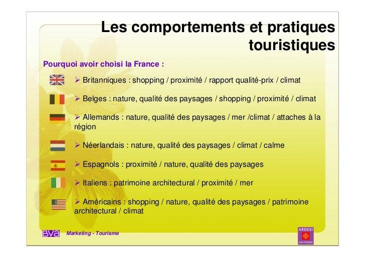 Les comportements et pratiques                                     touristiquesPourquoi avoir choisi la France :          ...