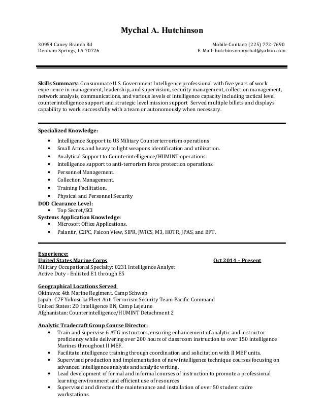 Mychal A. Hutchinson 30954 Caney Branch Rd Mobile Contact: (225) 772-7690 Denham Springs, LA 70726 E-Mail: hutchinsonmycha...