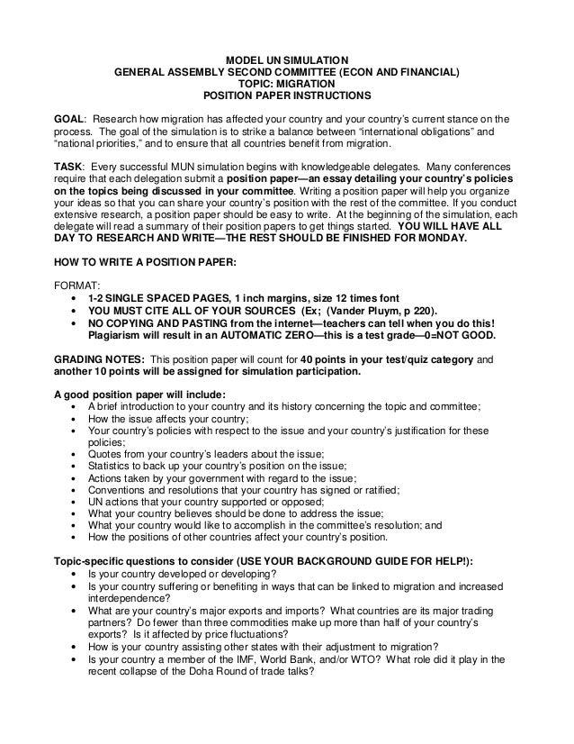 model un position paper format