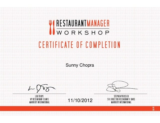 Restaurant Bar Manager Certification