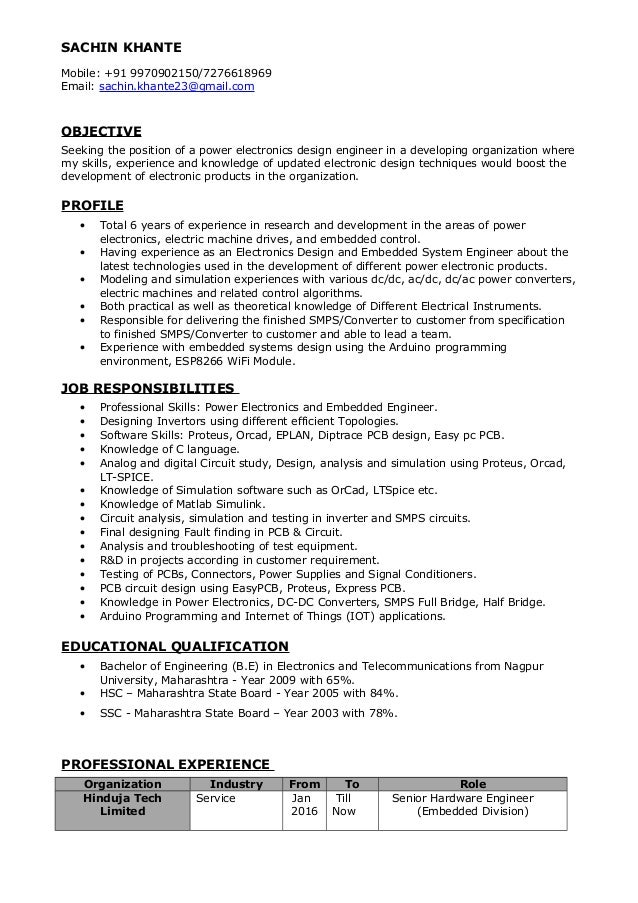 Power Electronics Engineer Resume Sachin Khante