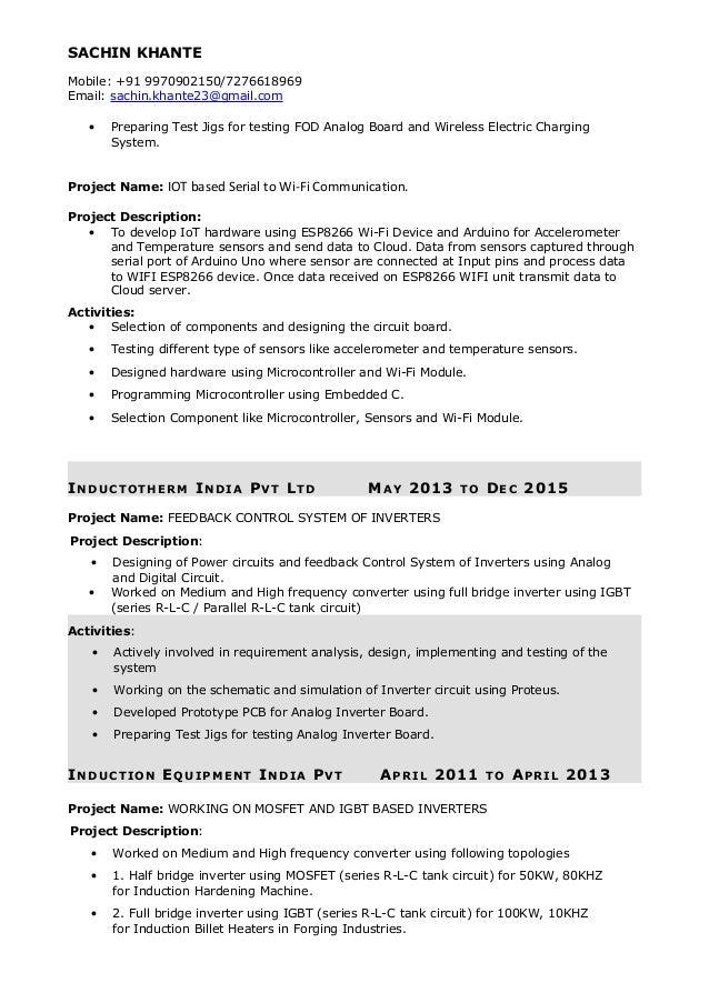 Power Electronics Engineer Resume - Sachin Khante