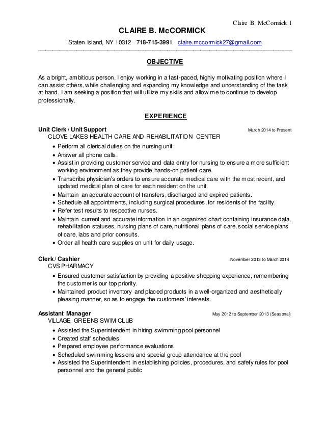 Final Resume Without Cover Letter. Claire B. McCormick 1 CLAIRE B.  McCORMICK Staten Island, NY 10312 718  ...
