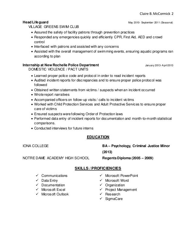 Resume For Lifeguard Sample Writing Tips