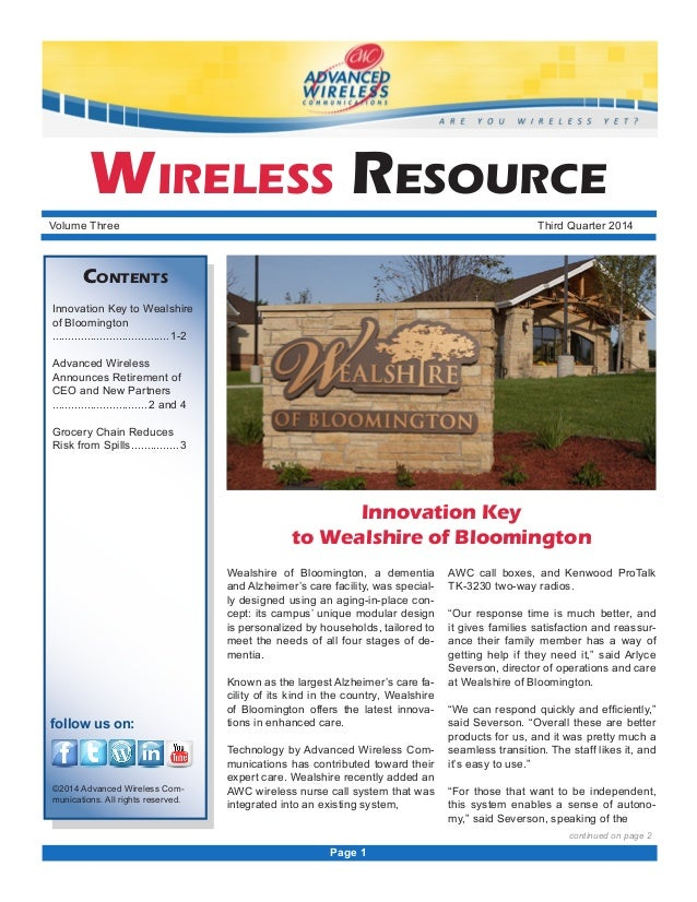 Wealshire of Bloomington, a dementia and Alzheimer's care facility, was special- ly designed using an aging-in-place con- ...