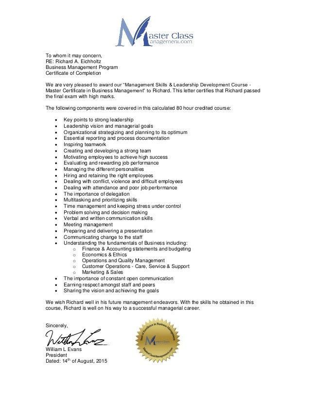 Busieness Management Certification Letter Richard Eichholtz